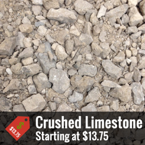 "A promotional image of a pile of small to medium sized rocks with text at the bottom that reads ""Crushed Limestone, Starting at $13.75"""