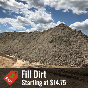 "A promotional image of a pile of fill dirt with text at the bottom that reads ""Fill Dirt, starting at $14.75"