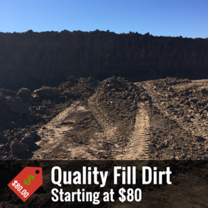 A promotional image of a pile of fill dirt with text at the bottom that reads